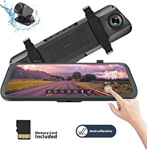 Acumen Mirror Dash Cam Digital Rear View Mirror 10'' Touch Screen, Dual Lens 1080P Full HD Cameras ADAS Motion Detection Parking Mode G-Sensor Loop-Recording Night Vision with 16GB SD Card (R1080P)