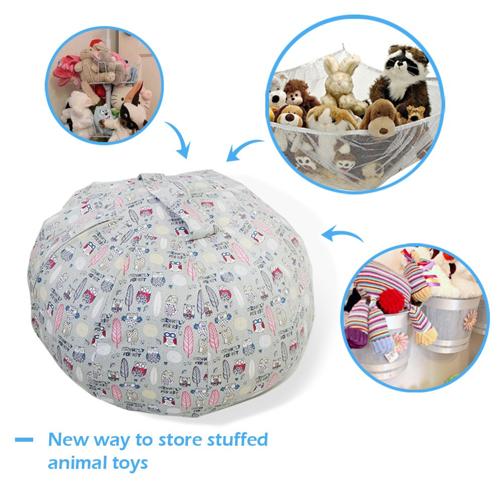 Stuffed Animal Storage Bean Bag Chair - Large Size 30 inch Cotton Canvas Children's Plush Toy Organizer Storage Bag (Gray) by Childmate (Image #4)