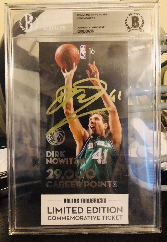 Dirk Nowitzki Autographed Signed Ticket Slabbed Beckett 29K Dallas Mavericks