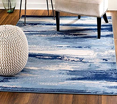 MADISON COLLECTION 408 Modern Abstract Blue Area Rug Clearance Soft and Durable Pile. Size Option 5' x 7'
