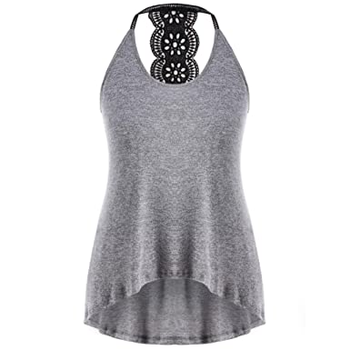 dd038c5b3 BCDshop Tanks Women Casual Sleeveless T-Shirt Back Lace Hollow Tank Tops  Blouse Plus Size