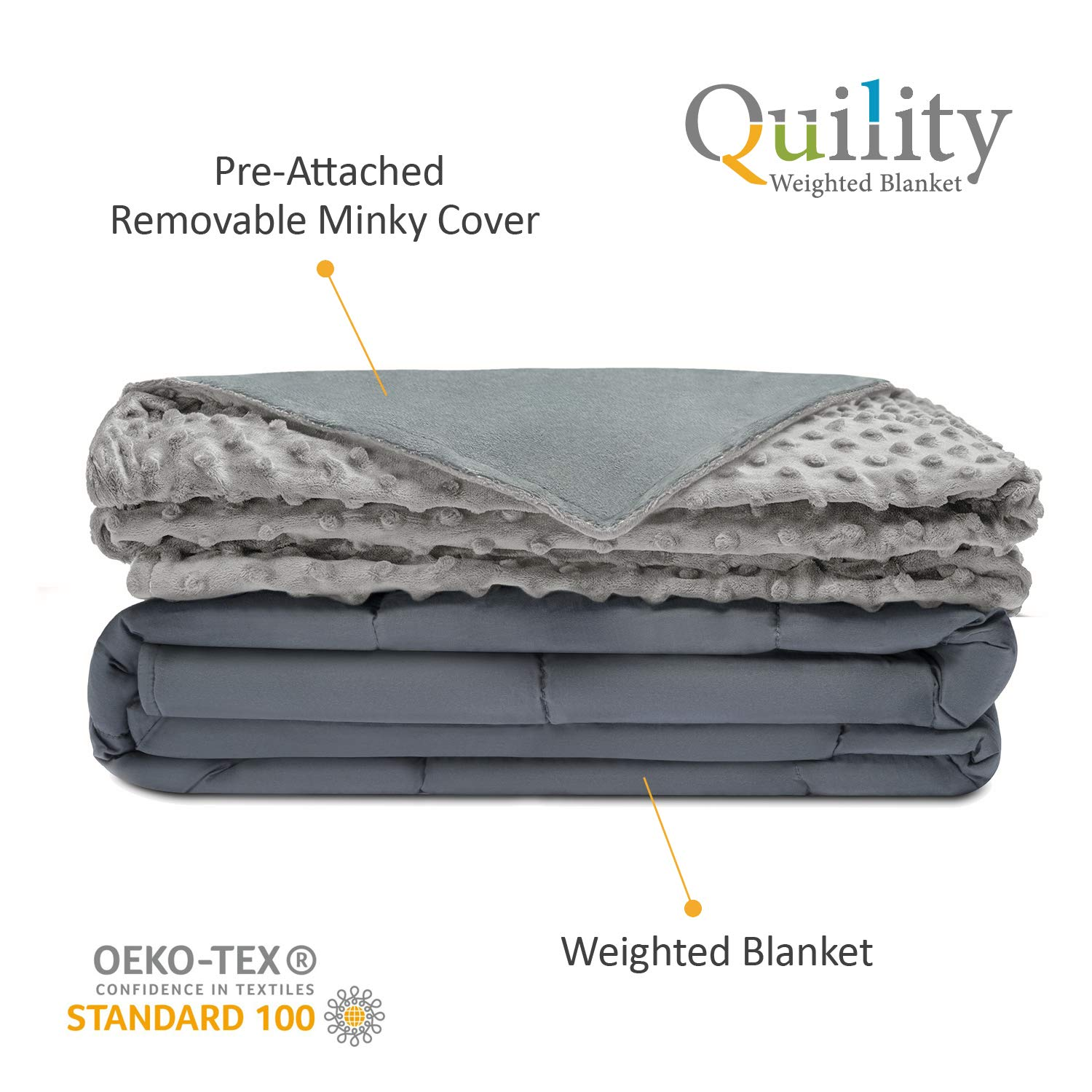 Quility Premium Adult Weighted Blanket  Removable Cover  30 lbs  86x92  for Individual or Couples