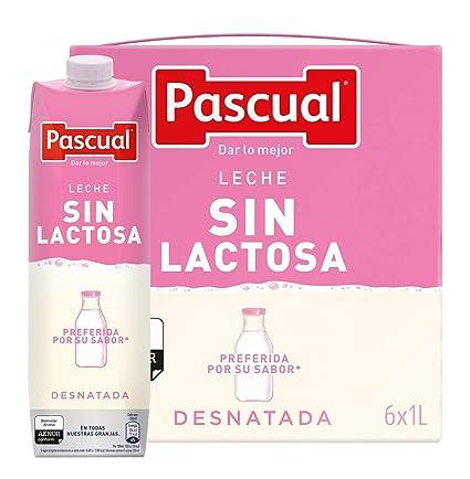 Pascual Leche Sin Lactosa Desnatada - Paquete de 6 x 1000 ml - Total: 6000
