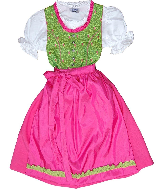 Zauberhaftes Kinderdirndl KIRA edel schimmernd apfelgrün-pink Komplett-Set