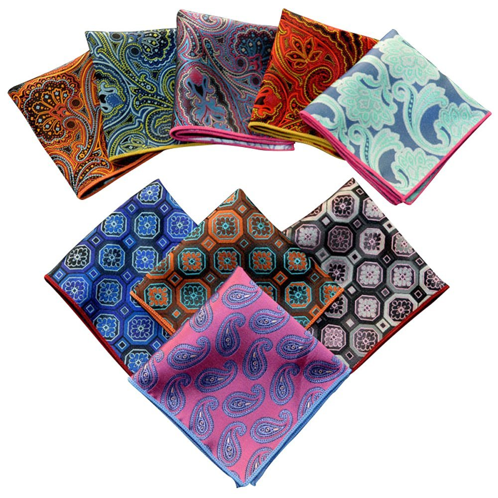 Weishang Mens Printing patterns Pocket Square Handkerchief Wedding Party(pack of 9)