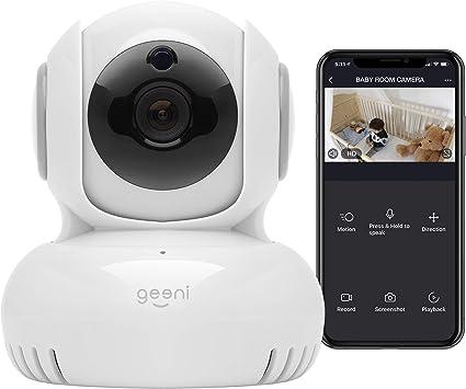 Geeni Sentinel 720p Cámara De Vigilancia Inalámbrica Para Interiores Con Panorama Inclinación Zoom Conversación De 2 Vías Visión Nocturna Y Alertas De Movimiento Funciona Con Alexa Y Google Assistant No Requiere Hub Blanco