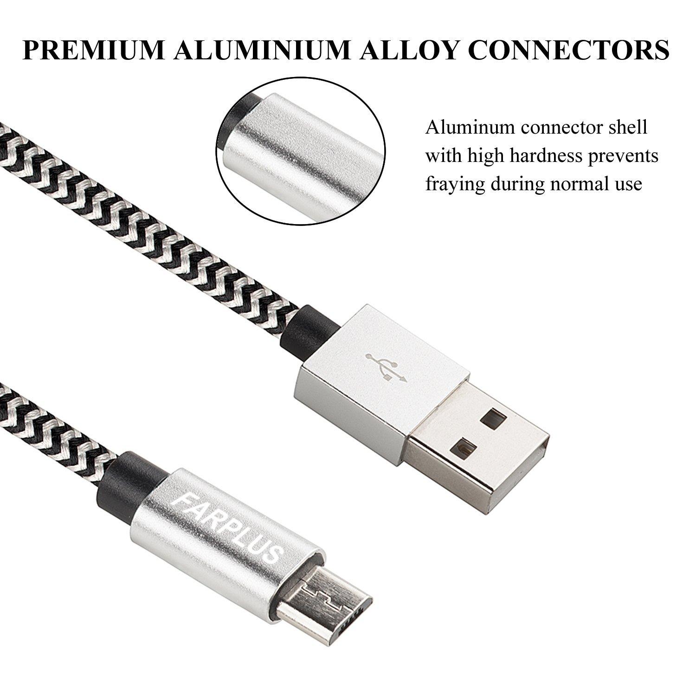 Amazon.com: Micro USB Cable,Farplus 4Pack 3FT Nylon Braided High ...