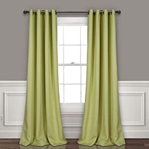 "Lush Decor Curtains-Grommet Panel with Insulated Blackout Lining, 84"" L Pair, Sage"