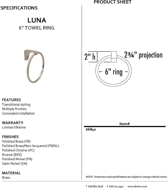 Alno Creations Lunaシリーズタオルリング 6 Inch A6840-PB 1