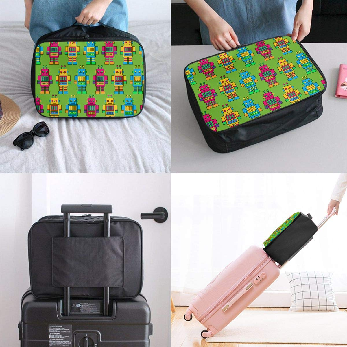 YueLJB Colorful Robot Pattern Lightweight Large Capacity Portable Luggage Bag Travel Duffel Bag Storage Carry Luggage Duffle Tote Bag