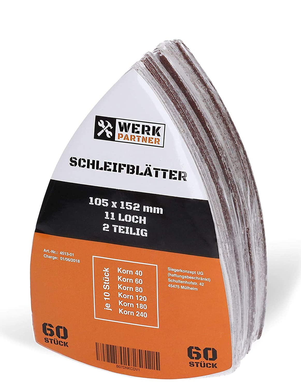 120 St/ück Klett-Schleifbl/ätter 105x152 mm K/örnung je 20 x 40//60//80//120//180//240 f/ür Multischleifer