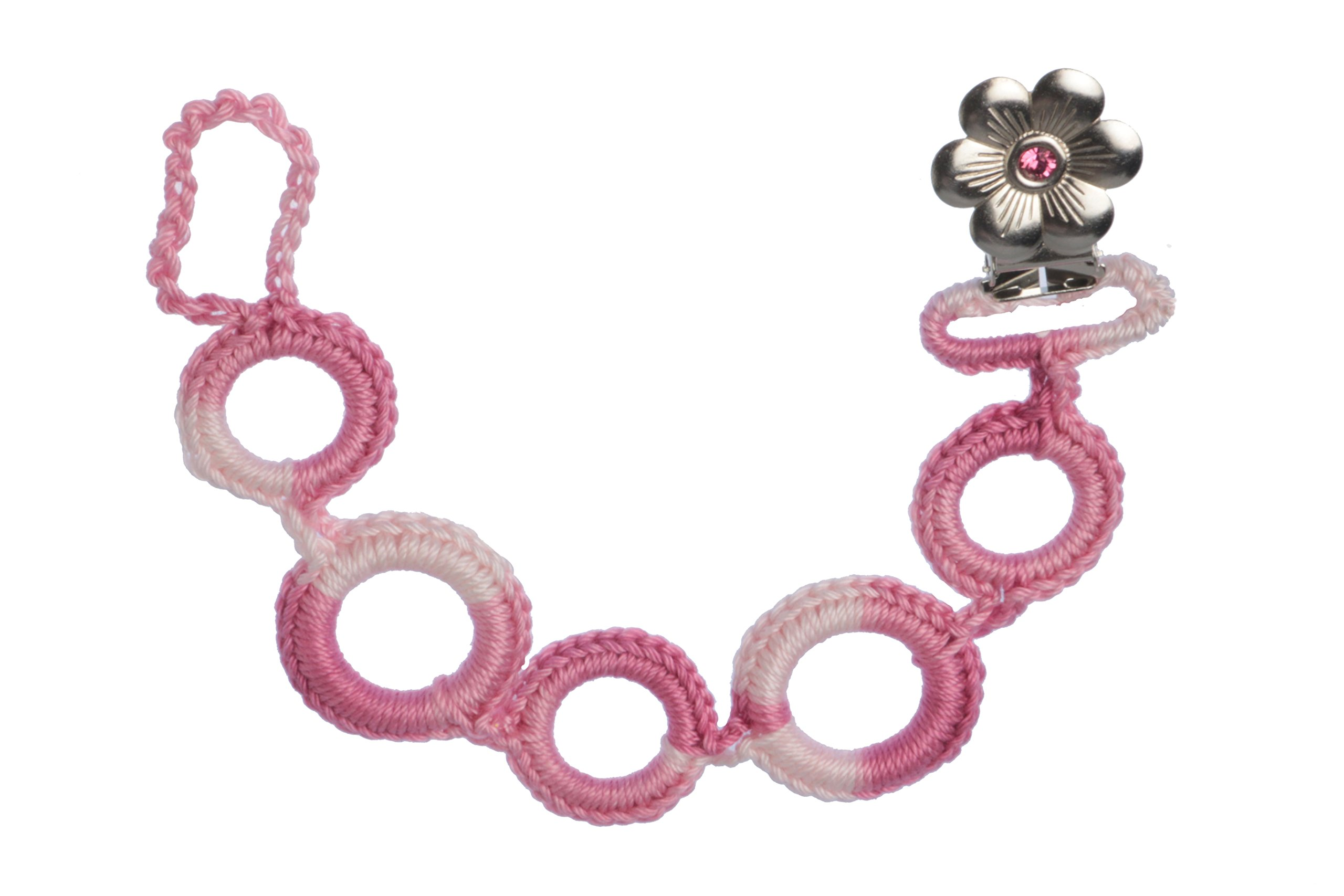 Clips N Grips Handmade Pacifier Leash Baby Pacifiers Holder (Pink Shades) by Clips N Grips