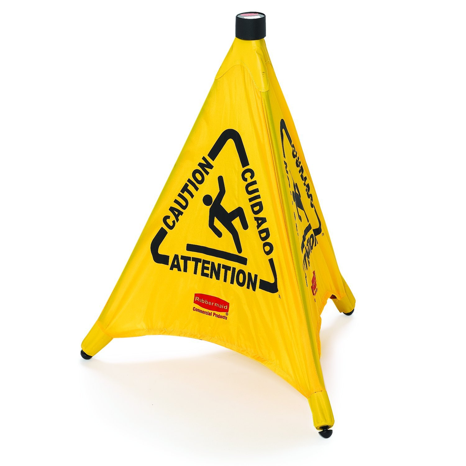 Rubbermaid Commercial Yellow Pop-Up Safety Cone with Multi-Lingual Caution Imprint and Wet Floor Symbol (FG9S0000YEL)