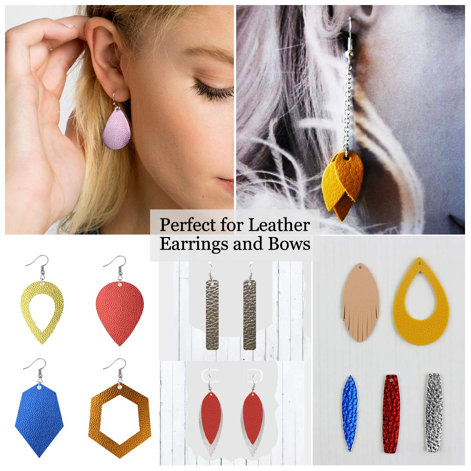 10pcs Metallic Faux Leather Sheets + 10pcs Double Sided Litchi Synthetic Leather Fabric Sheets(6''x 6'') with 140pcs Earring Hooks, 140pcs Jump Rings, Pliers and Cut Molds for Earring Making Crafts by SIMPZIA (Image #7)
