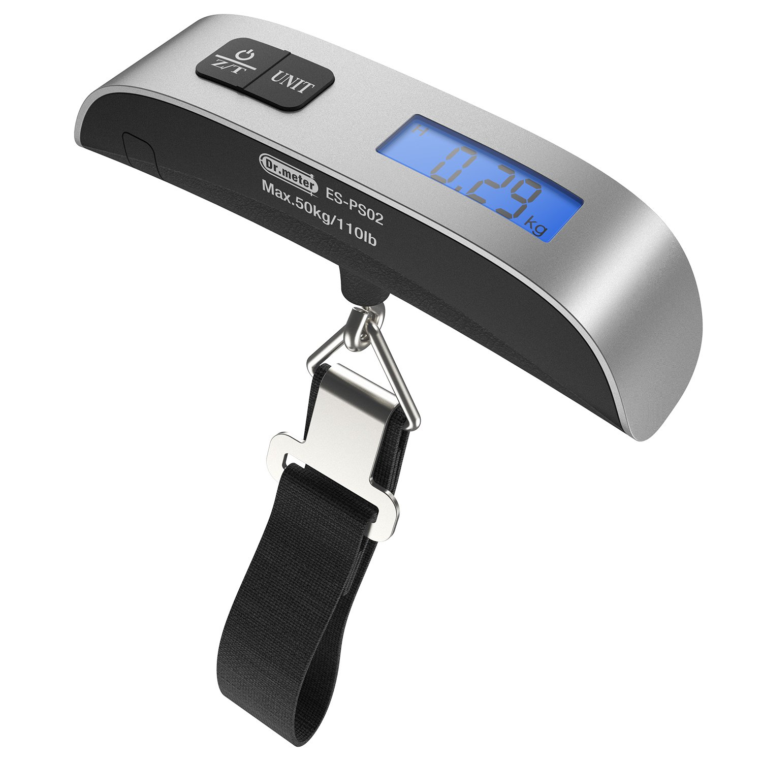 Backlight LCD Display Luggage Scale, Dr.meter 110lb/50kg Electronic Balance Digital Postal Luggage Hanging Scale with Rubber Paint Handle,Temperature Sensor, Silver/Black IC-HS02
