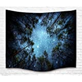 """Tapestry Wall Hanging Tapestry Galaxy Tapestry Milky Way Tapestry Starry Tapestry Forest Starry Sky Tapestry Tree Tapestry Bedspread Throw Blanket Home Room Wall Decor (M51.2""""X59.1"""", 10#Forest sky)"""