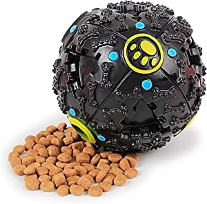 Shriek Pet Food Ball Dog Puzzle Toys Interactive Dog Toys Snack Ball Leaking Ball Dog Slow Feeder Bowl for Pet Tooth Cleaning/Chewing/Playing,IQ Treat Ball 3.54Inch/9cm