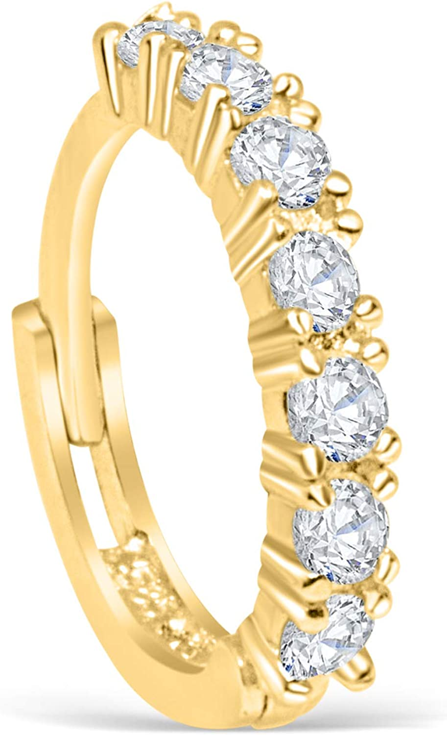 14K Real Solid Gold Jewelry Simulated Diamond Cz Open Round Inner Outer Conch Daith Cartilage Tragus Ear Segment Clicker Nose Ring Huggie Hoop Ring Earring Piercing For Women Girls