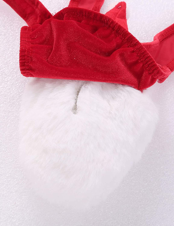 inhzoy Mens Soft Velvet Christmas Mankini Costume Sling Shot Suspender G-String Thong Underwear