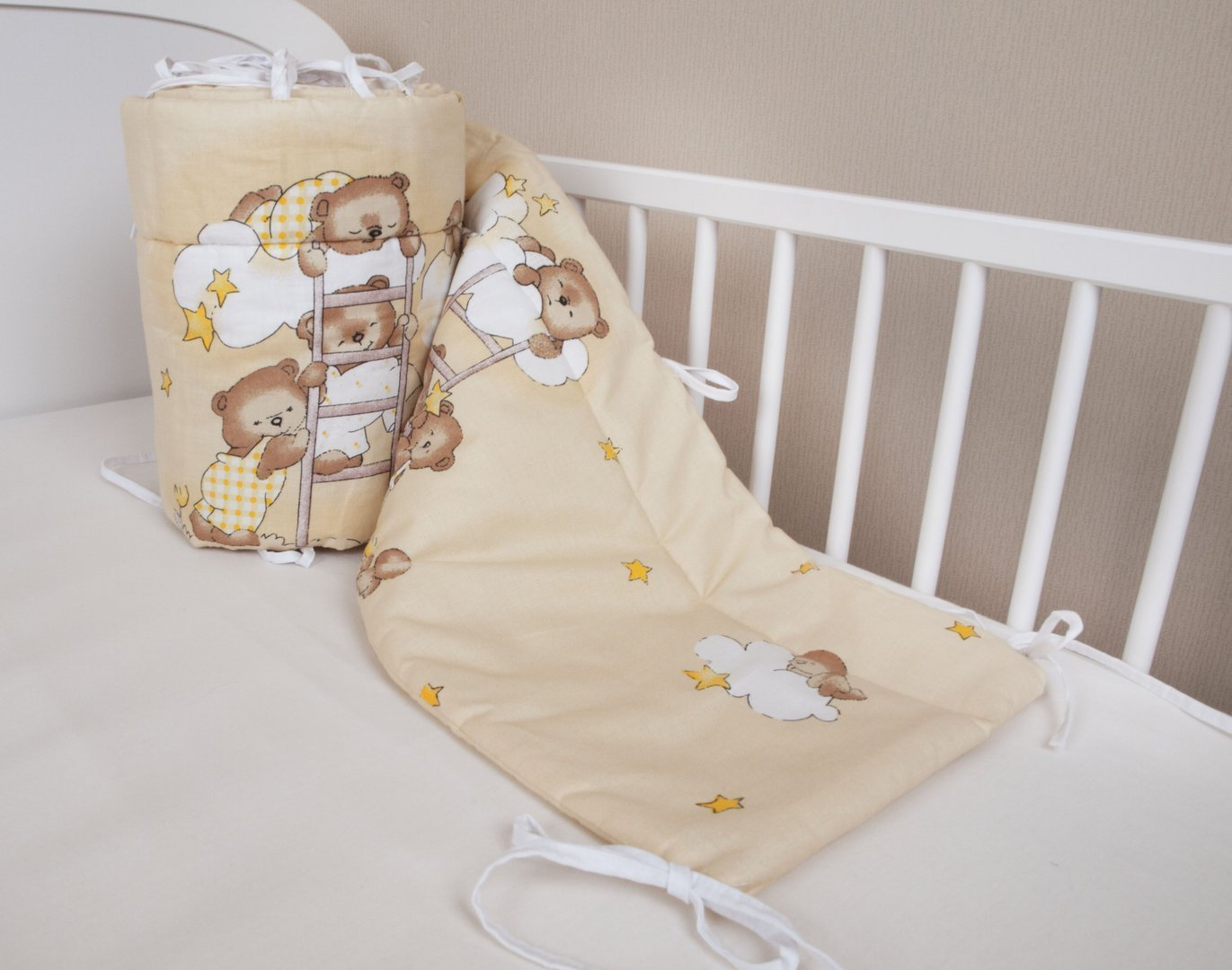 Amilian® Baby Cot Bumper Wrap Around Protection For Baby's Bed With Head Guard 100% hypo-Allergenic 100% Cotton Breathable and non-toxic materials Anti-allergic Teddy Bear Print Beige/Ecru Available In 3 Sizes (420 cm x 30 cm) (360 cm 30 cm) (180 cm x 30