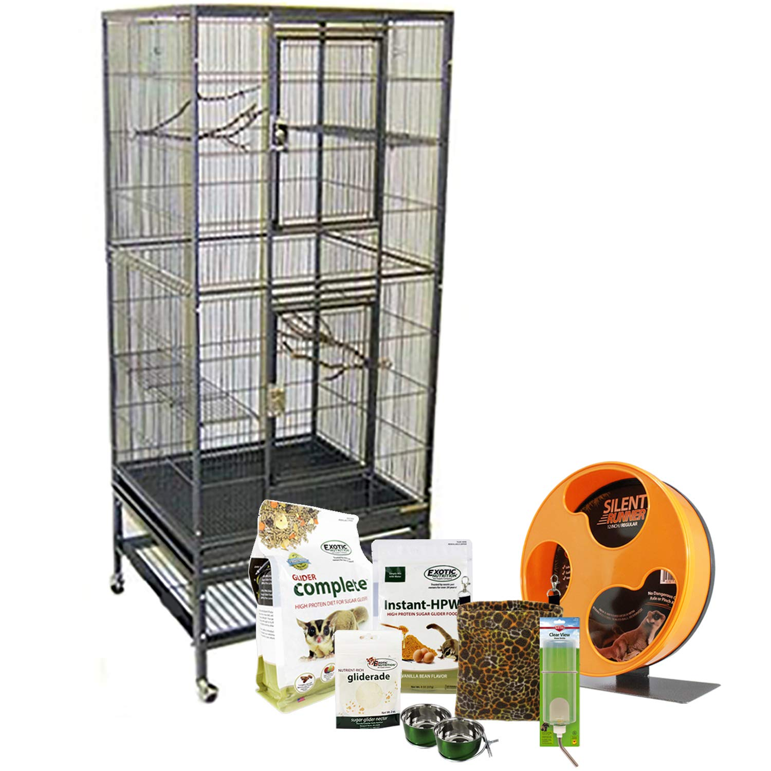 Exotic Nutrition Madagascar Cage & Starter Package for Sugar Gliders - Includes Durable Cage, Exercise Wheel, Healthy Food Assortment, Water Bottle, Food Dishes & Nest Pouch by Exotic Nutrition