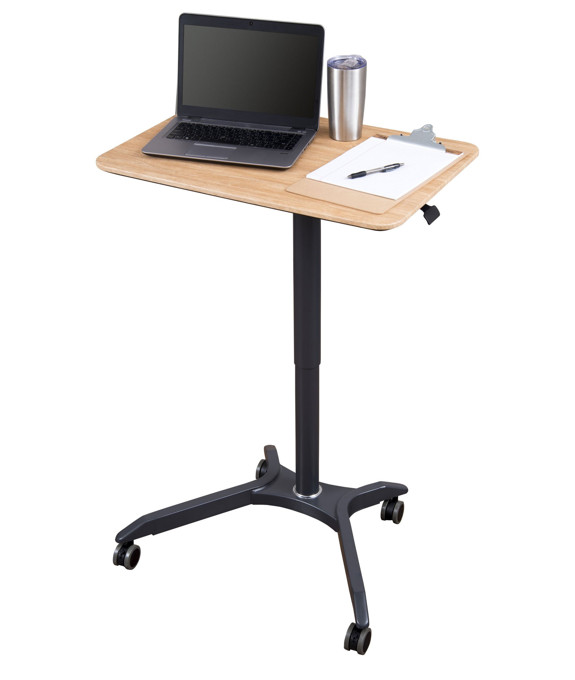 Pneumatic Adjustable Height Laptop Desk Cart (28'', Charcoal/White Oak)