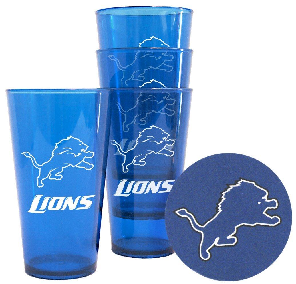 Boelter Brands Detroit Lions Plastic Pint Glass Set
