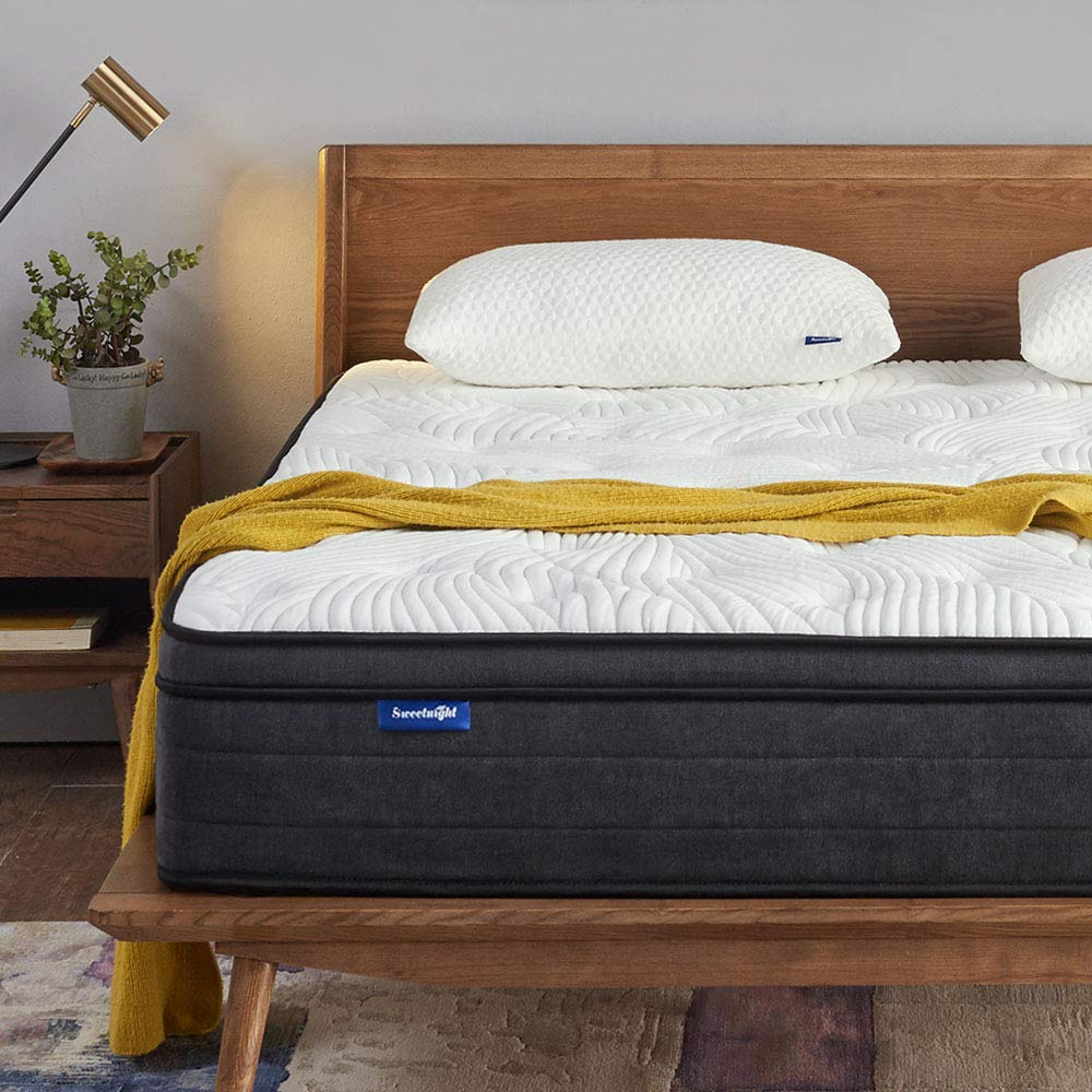 Sweetnight Queen Mattress in a Box - 12 Inch Plush Pillow Top Hybrid Mattress, Gel Memory Foam for Sleep Cool, Motion Isolating Individually Wrapped Coils, CertiPUR-US Certified, Queen Size by Sweetnight