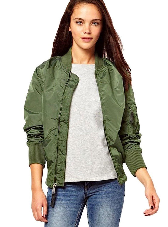 Womens Short Bomber Jacket Classic Flight Jacket Coat Outdoor