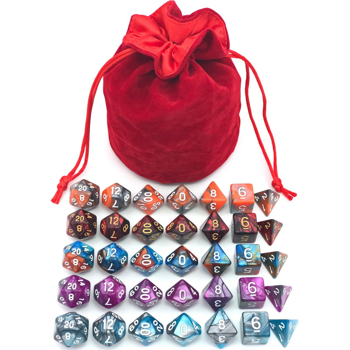 5 Assorted Colors Polyhedral Dice Set for Dungeons and Dragons DND Pathfinder RPG Role Playing Games with Red Drawstring Dice Bag (Total 5 Sets) by IvyFieldDice