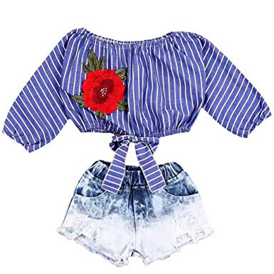 e9f1f10edf854 Emmababy Fashion Kid Baby Girls Striped Crop Tops T Shirts Blouse Denim  Short Jeans Pants Outfits