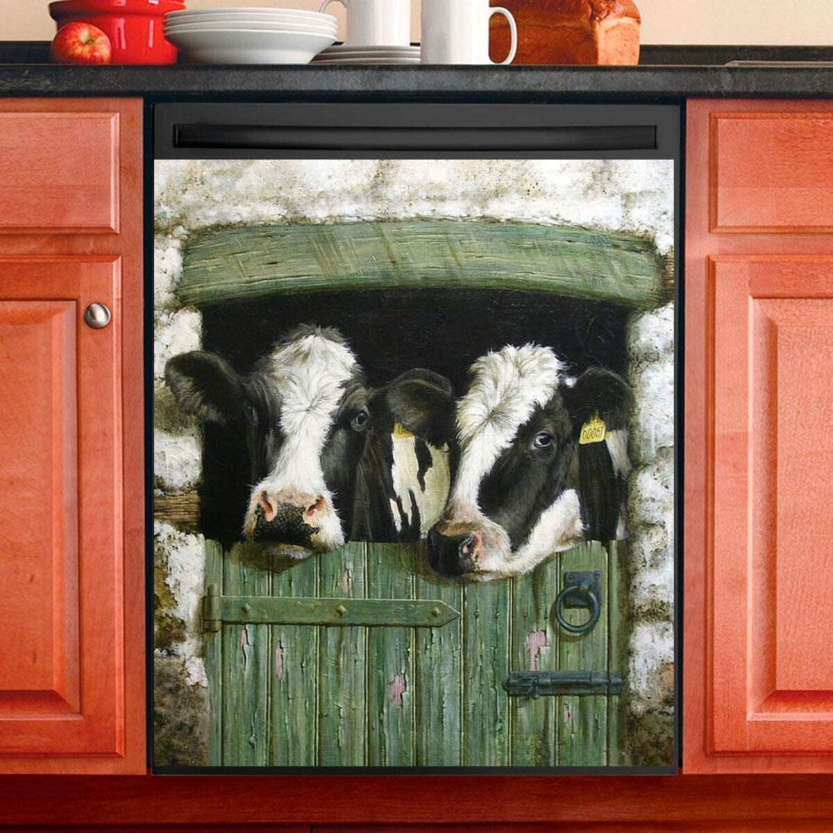 Magnetic Dishwasher Sticker Cow Dish Washer Cover for Kitchen Decor Full Size