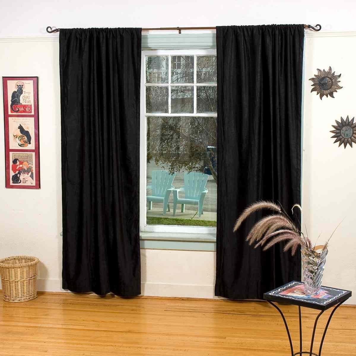 Indian Selections Lined-Black Rod Pocket Velvet Cafe Curtain/Drape/Panel - 43W x 24L - Piece