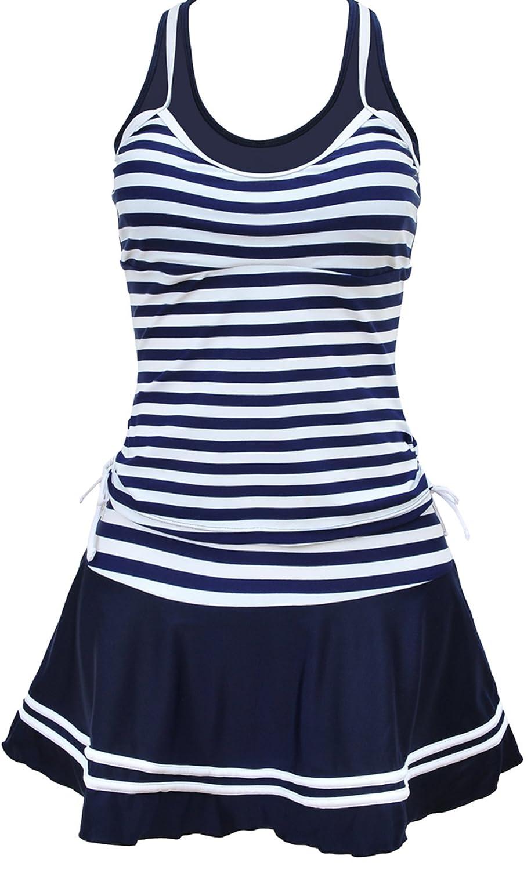 Eudolah Ladies Retro Stripes Swimming Costume Dress Plus Size Tankini Swimwear with Skirt Bottom