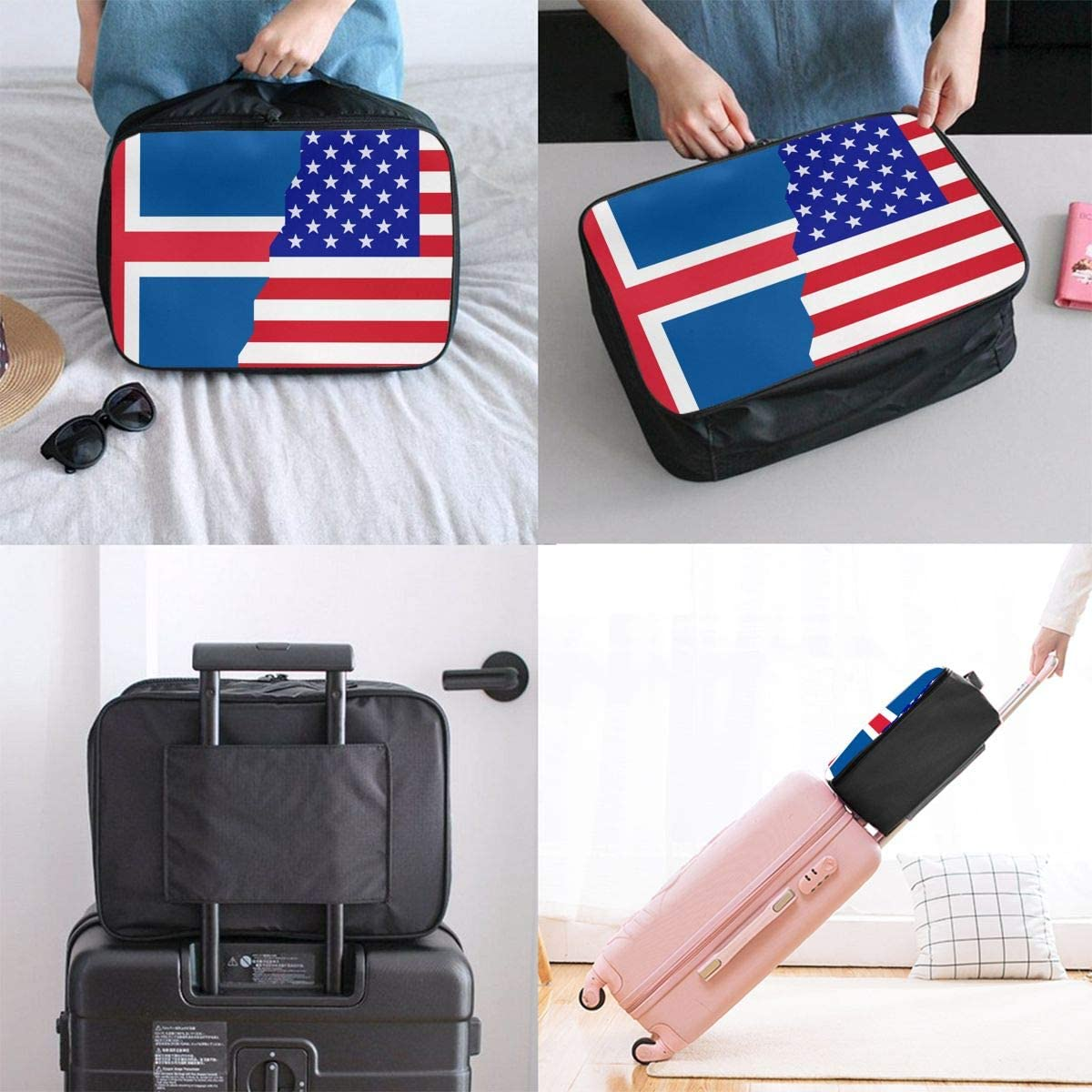 American Iceland Flag Overnight Carry On Luggage Waterproof Fashion Travel Bag Lightweight Suitcases