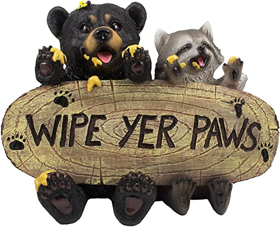 Amazon Com Black Bear And Raccoon Faux Wood Welcome Sign Statue With Reminder To Wipe Your Feet In Outdoor Garden Decor Sculptures Yard Art For Front Porch Patio Or Deck As