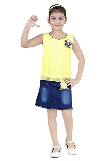 b604377e2 Golden Girl Girl's Denim Skirt-Top Set: Amazon.in: Clothing & Accessories