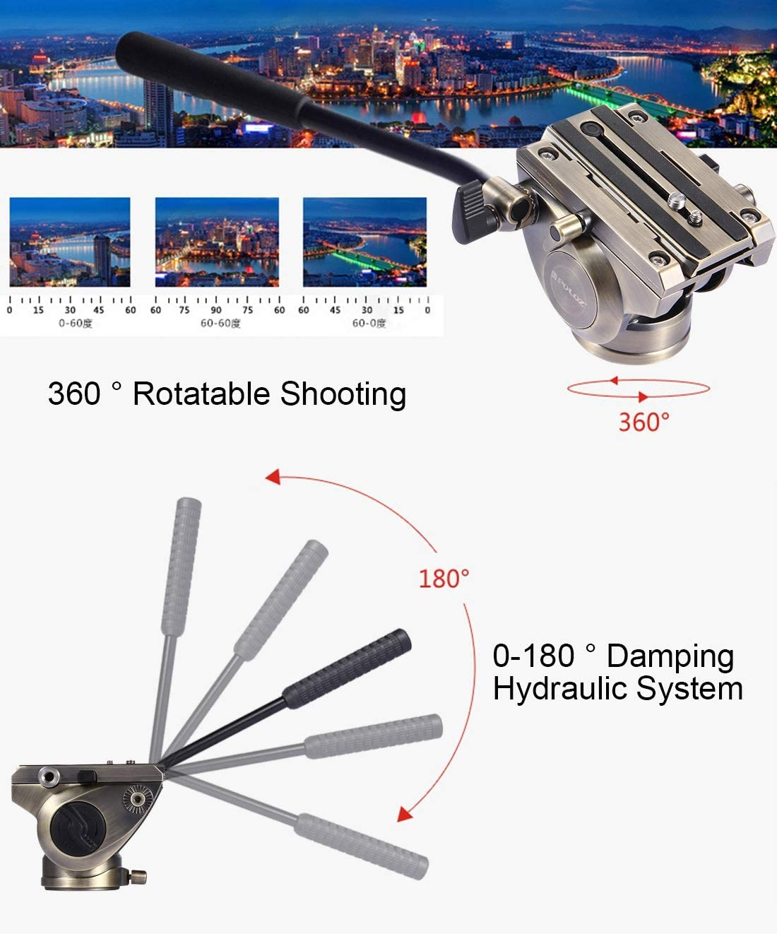 Black Large Size Camera Tripod Head Adapter Heavy Duty Video Camera Tripod Action Fluid Drag Head with Sliding Plate for DSLR /& SLR Cameras Color : Gold