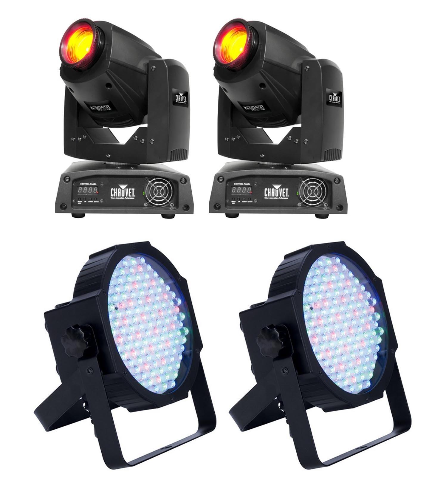 (2) CHAUVET Intimidator Spot 255 LED Lights w/ (2) ADJ Mega Par Profile Lights