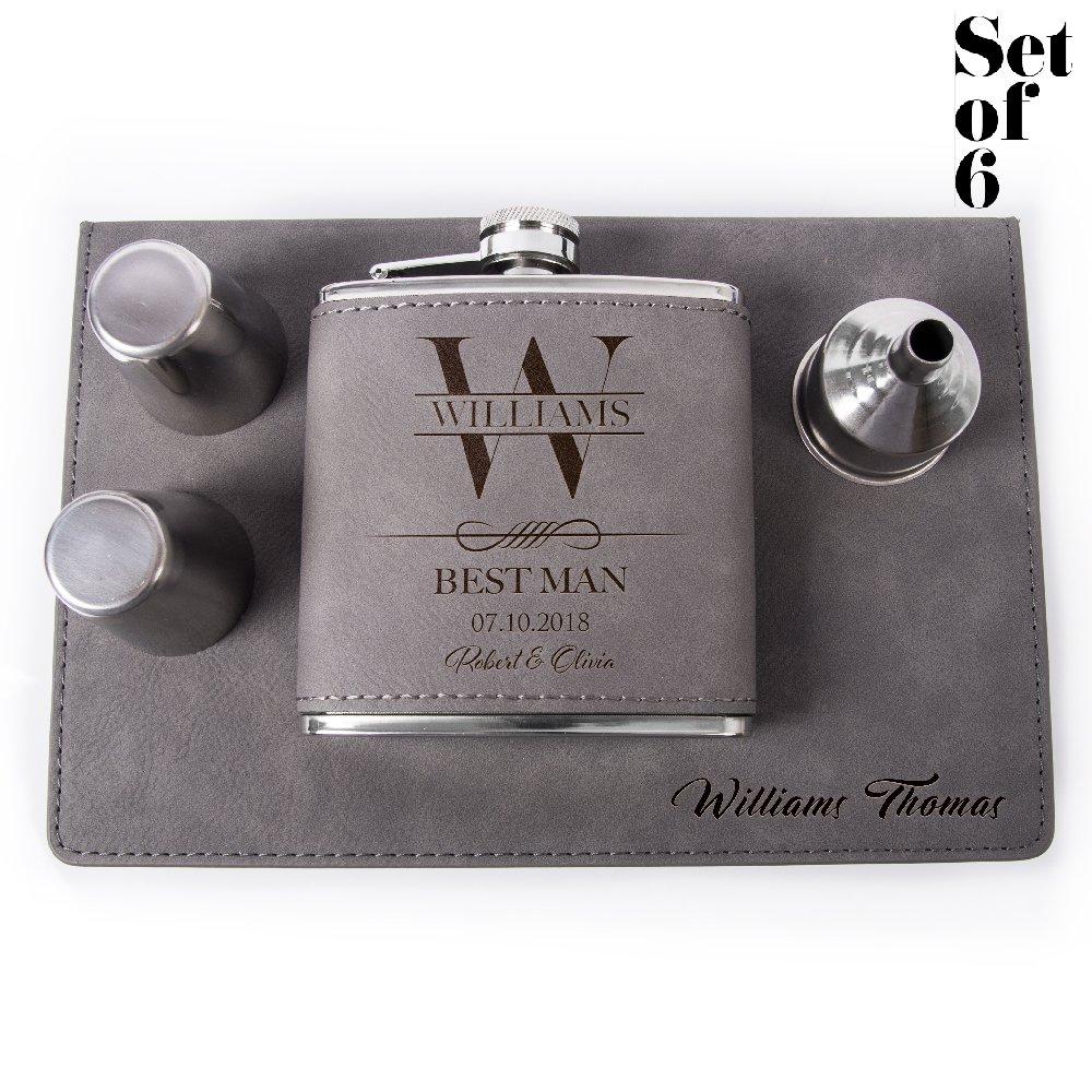 Set of 6, Set of 3, Single - Personalized Leatheratte Flask, Groomsmen Gift, Customized Groomsman Flasks, Wedding Favors, Design 6, Set of 6, Gray