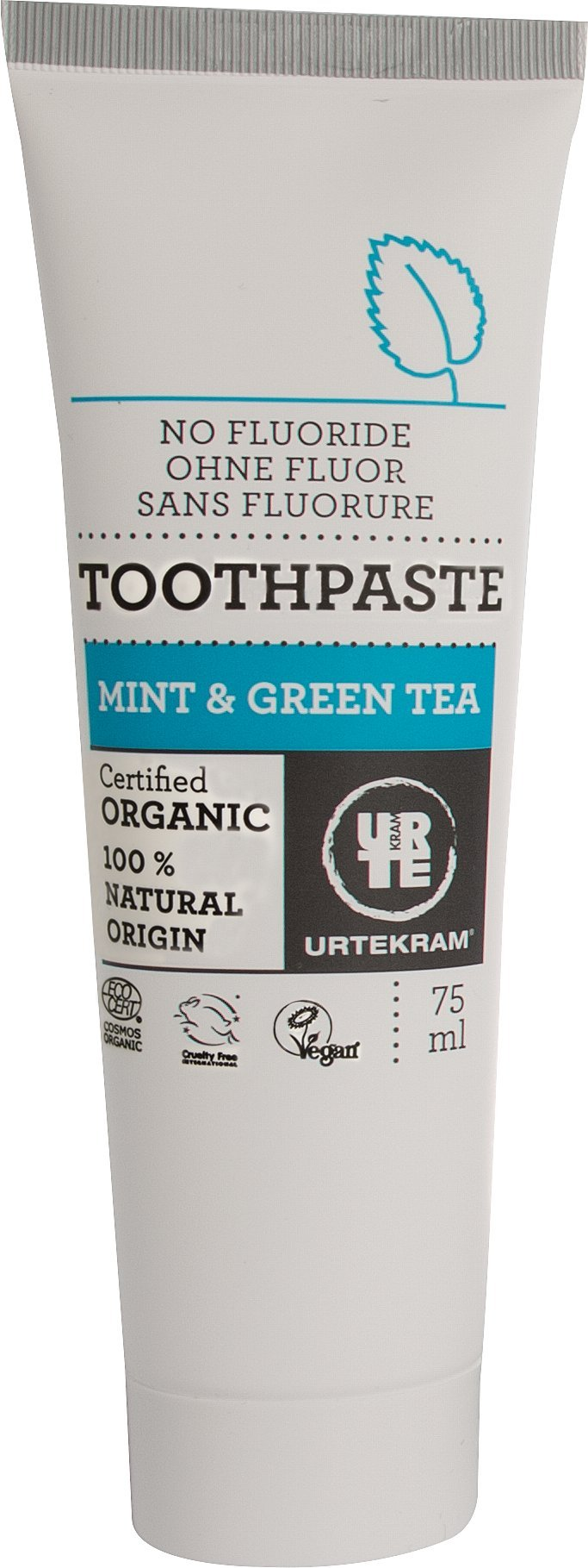 Urtekram Mint and Green Tea Toothpaste Organic, Without Fluoride, 75 Millilitre
