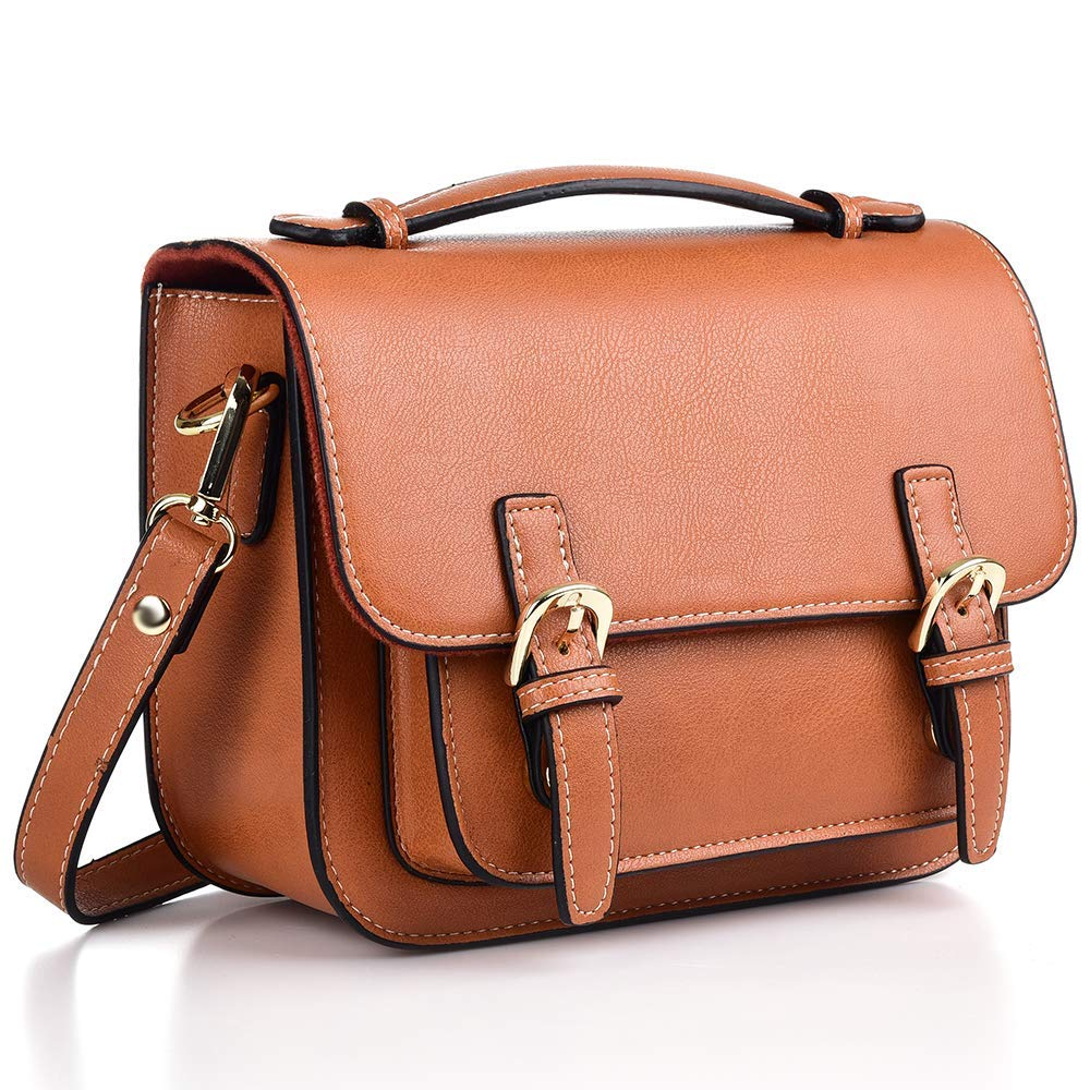 1940s Handbags and Purses History Katia Retro Vintage PU Leather Bag Compatible for Polaroid Fujifilm Instax Mini 9/8/ 7s/ SQ6/ 25/90/ Instant Film Camera with Shoulder Strap - Brown $22.99 AT vintagedancer.com