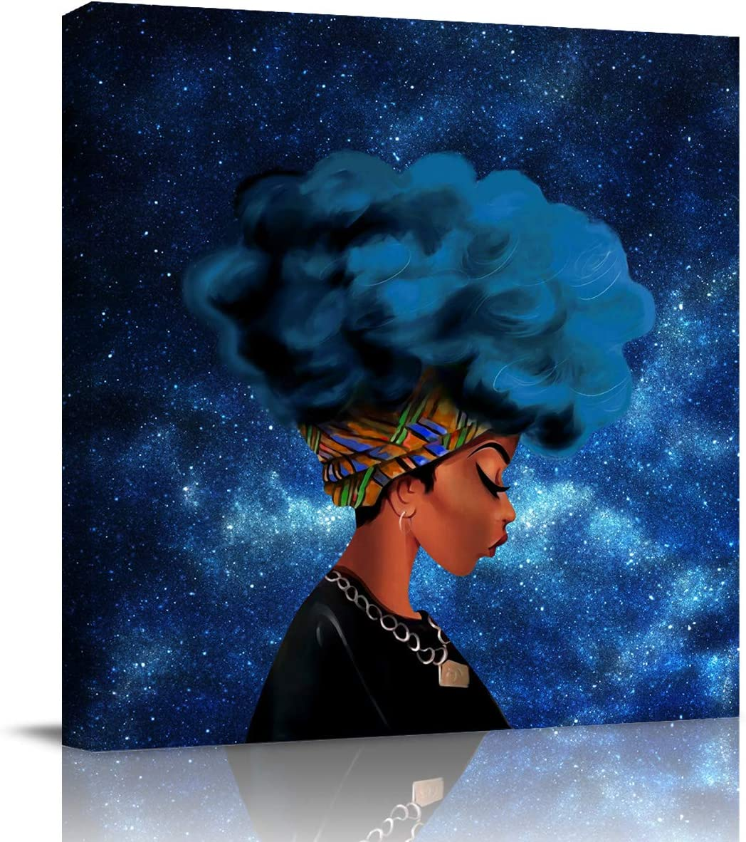 """Oil Painting Canvas African Black Women with Blue Hair Afro Hairstyle Wall Art Framed Decor HD Digital Printing Drawn Interior Decoration Artwork 12""""x12"""" Ready to Hang Galaxy Background"""