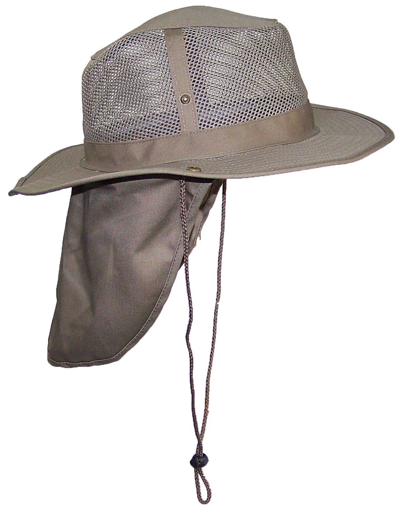 Tropic Hats Summer Wide Brim Mesh Safari/Outback W/Neck Flap & Snap up Sides - Tan M