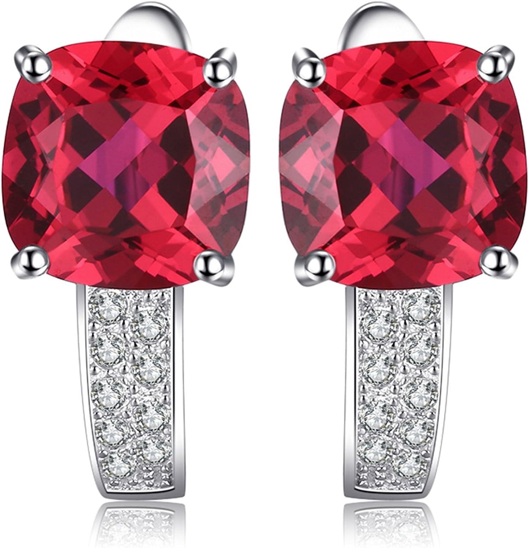 JewelryPalace Pendientes de Aro Con Rubí Cuadrado Rojo en Plata de ley 925