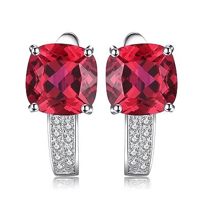 f98c64b7e3a3 JewelryPalace Pendientes de Aro Con Rubí Cuadrado Rojo en Plata de ley 925   Amazon.es  Joyería