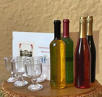 1 LIQUOR BOTTLE forDOLLHOUSE FAIRY GARDEN 4 GLASSES 5 MINIATURE WINE BOTTLES