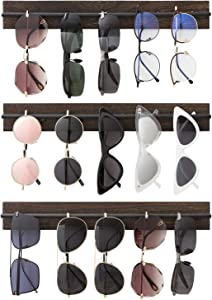 Mkono Wood Sunglasses Storage Organizer Wall Mounted Eyeglasses Holder Eyewear Display Rack Rustic Home Decor, 3 Pack