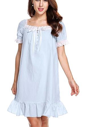801465d2e2 AIMADO Damen Mädchen Romantisches Nachthemd kurzarm Vintage 100% Baumwolle  mit Rüschen Nachtwäsche Schlafanzug, Blau