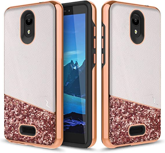 Mint Teal Phonelicious Alcatel Insight Case TCL A1 Case Dual Layer Shockproof Glitter Slim Protective Hard Phone Cover for Girl Women Compatible with A501DL